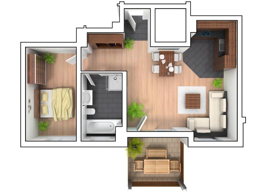 3d grundriss Schlafzimmer einrichten 3d