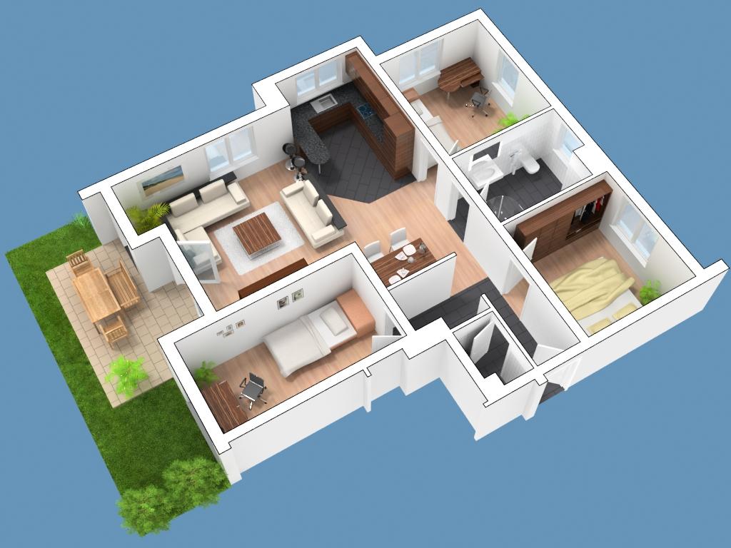 Einfamilienhaus grundriss 3d  3D Grundrisse