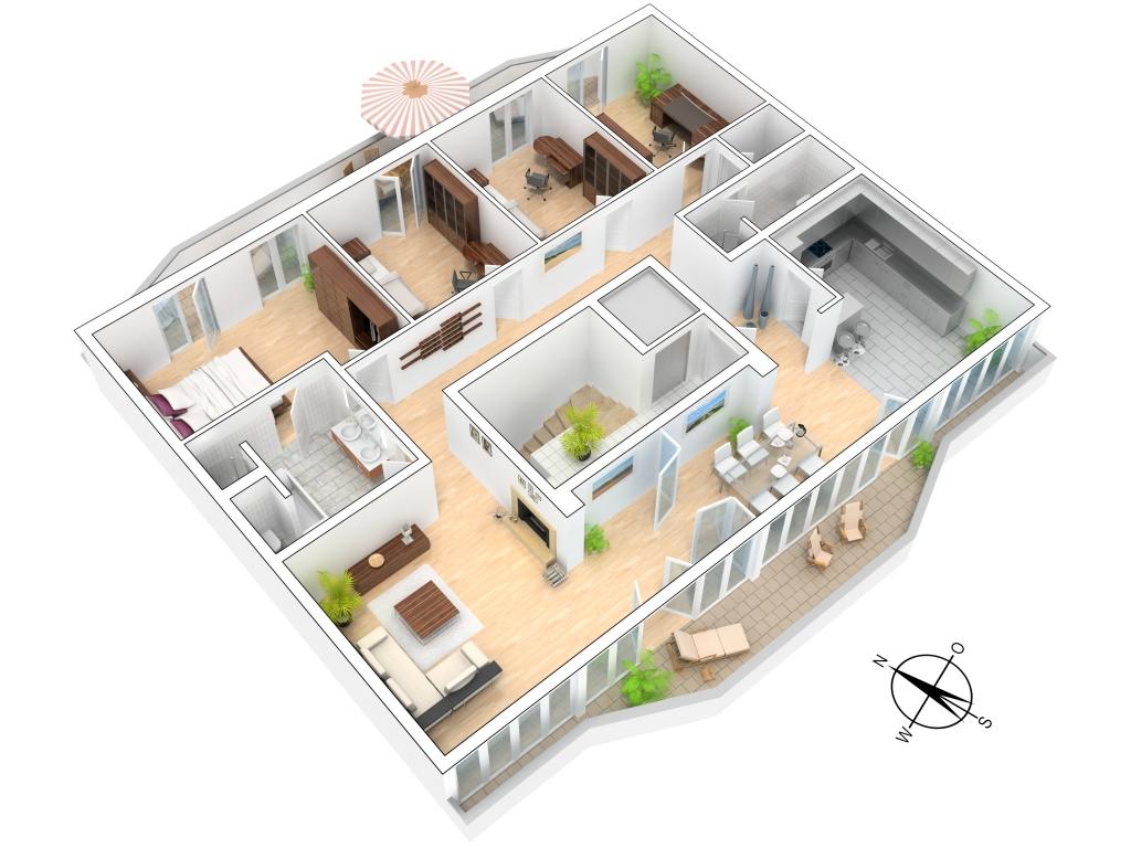 3d grundrisse for Hauser plane einfamilienhaus